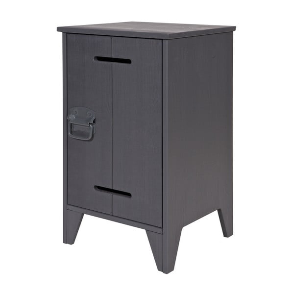 Tmavě šedý borovicový noční stolek De Eekhoorn Kluis