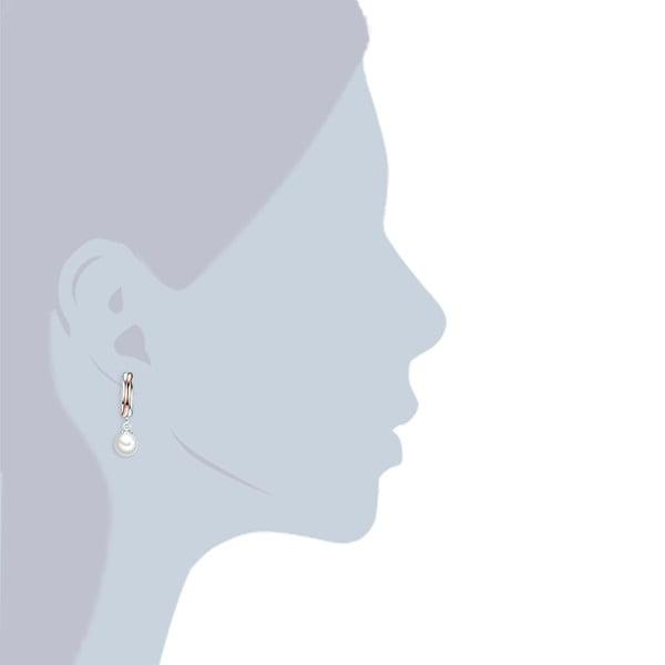Náušnice s bílou perlou Perldesse Rea, ⌀8 mm