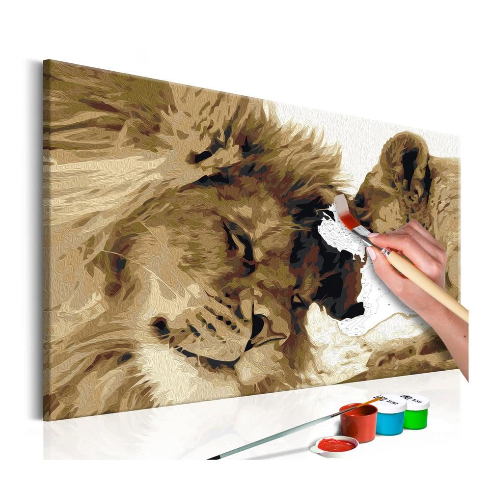DIY set na tvorbu vlastního obrazu na plátně Artgeist Lions Love, 60x40 cm