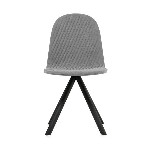 Šedá židle s černými nohami Iker Mannequin Stripe