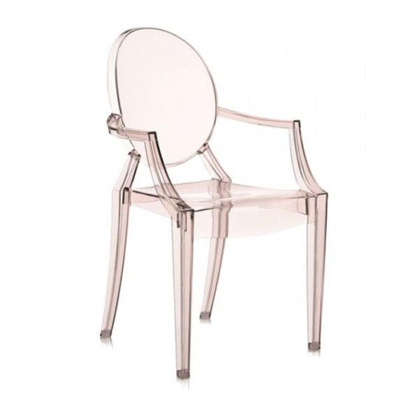 Světle oranžová plastová židle Kartell Louis Ghost