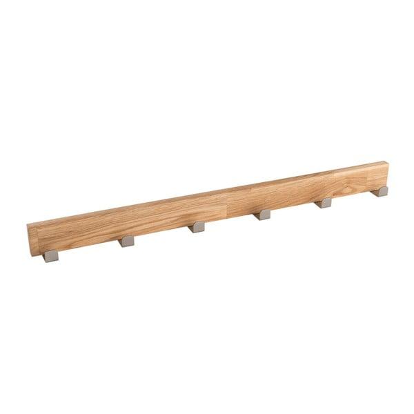 Cuier din lemn de stejar natural cu 6 cârlige Rowico Sol