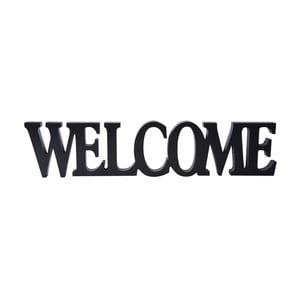 Dřevěná dekorace Welcome, černá