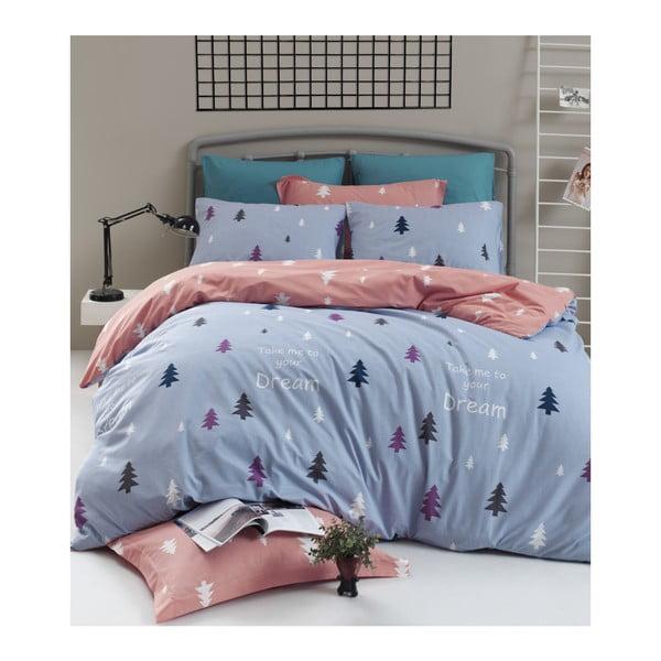 Lenjerie de pat cu cearșaf din bumbac ranforce, pentru pat dublu Mijolnir Takeme Light Blue, 200 x 220 cm