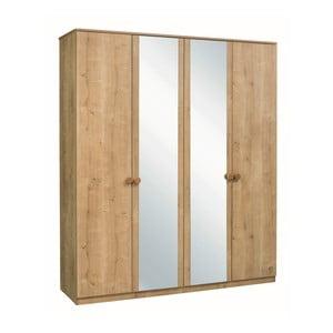 Šatní skříň s 2 zrcadly Mocha 4 Doors Wardrobe