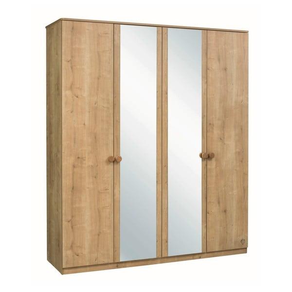 Mocha 4 Doors Wardrobe ruhásszekrény, 2 tükörrel