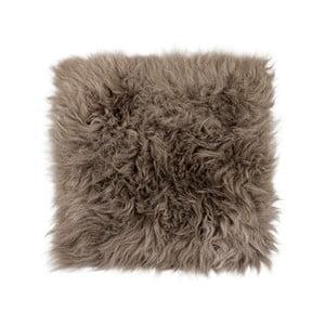 Šedohnědý podsedák z ovčí kožešiny s dlouhým chlupem Arctic Fur Milo, 37x37cm