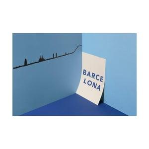 Černá nástěnná dekorace se siluetou města The Line Barcelona XL