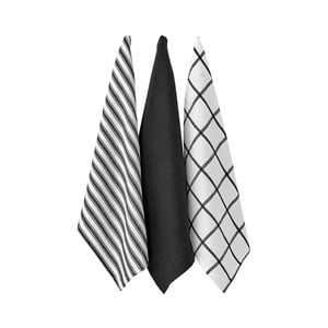 Set 3 șervete bucătărie Ladelle Butcher Stripe, negru