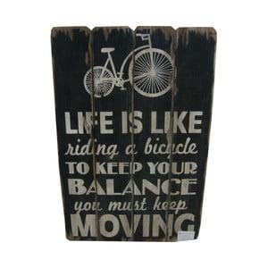 Závěsná cedule Life is Like Riding Bicycle, 60x40 cm