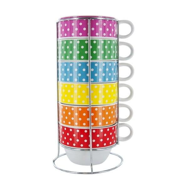 Sada 6 hrnků se stojánkem Café Latte Mini Dots