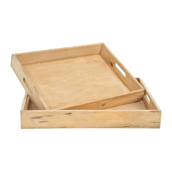 Sada dvou dřevěných táců, 43x33x6 cm