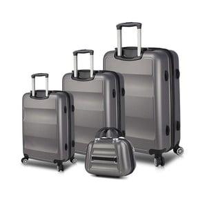 Sada 3 šedých cestovních kufrů na kolečkách s USB porty a příručního kufříku My Valice LASSO Travel Set