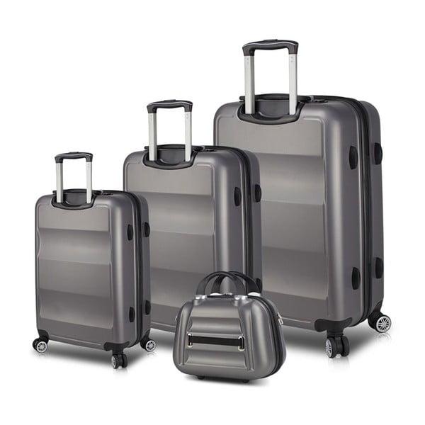 Zestaw 3 szarych walizek na kółkach z USB i kuferka podróżnego My Valice LASSO Travel Set