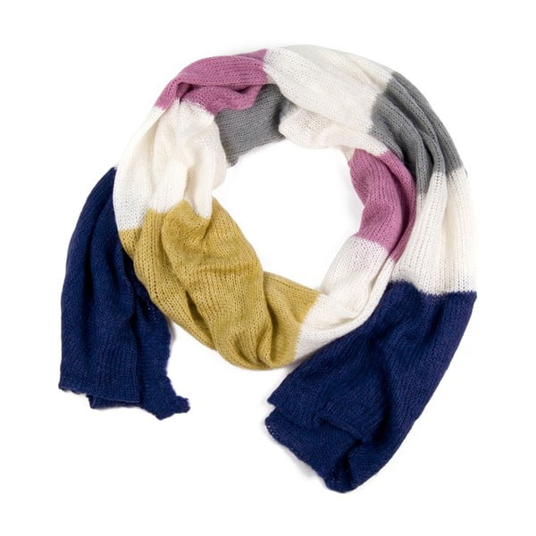 Fular Art of Polo Belinda, albastru-roz-galben