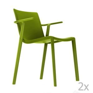 Sada 2 zelených zahradních židlí s područkami Resol Kat