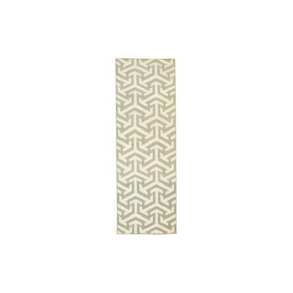 Vlněný koberec Kilim No. 307 Green, 60x180 cm