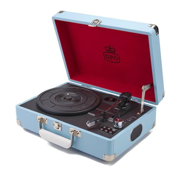 Světle modrý gramofon s rádiem GPO Attache Blue