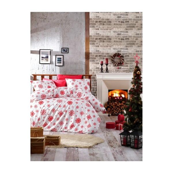 Vianočné bavlnené obliečky na dvojlôžko s plachtou Rina, 200×220 cm