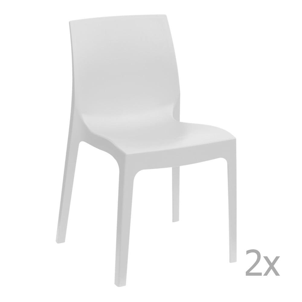 Sada 2 bílých jídelních židlí Castagnetti Rome