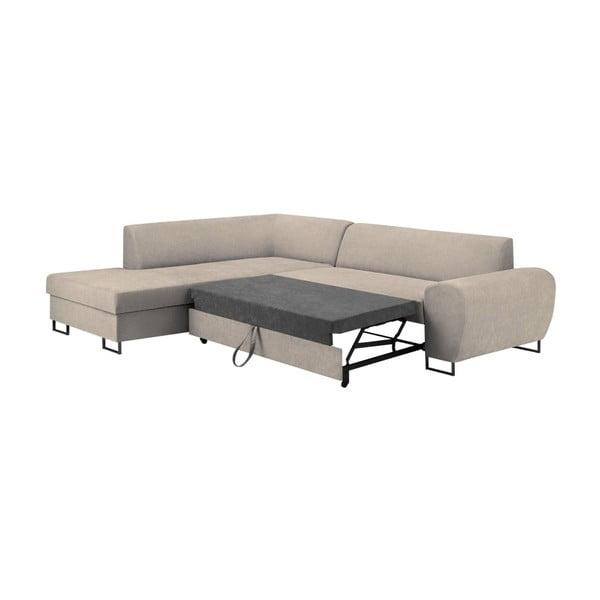 Béžová rohová rozkládací pohovka s úložným prostorem Kooko Home XL Left Corner Sofa Puro