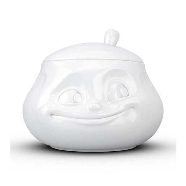 Biała uśmiechnięta cukierniczka z porcelany 58products
