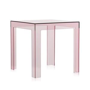 Světle růžový transparentní stolek Kartell Jolly