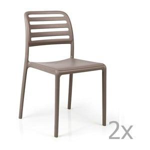 Sada 2 béžovošedých zahradních židlí Nardi Costa Bistrot