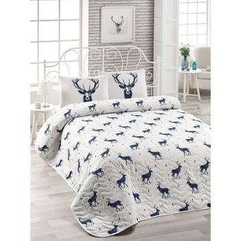 Set cuvertură matlasată și 2 fețe de pernă din amestec de bumbac pentru pat dublu EnLora Home Geyik Dark Blue, 240 x 220 cm de la EnLora Home