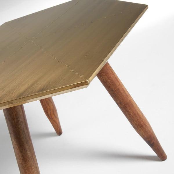 Odkládací stolek s deskou v barvě mosazi La Forma Bima