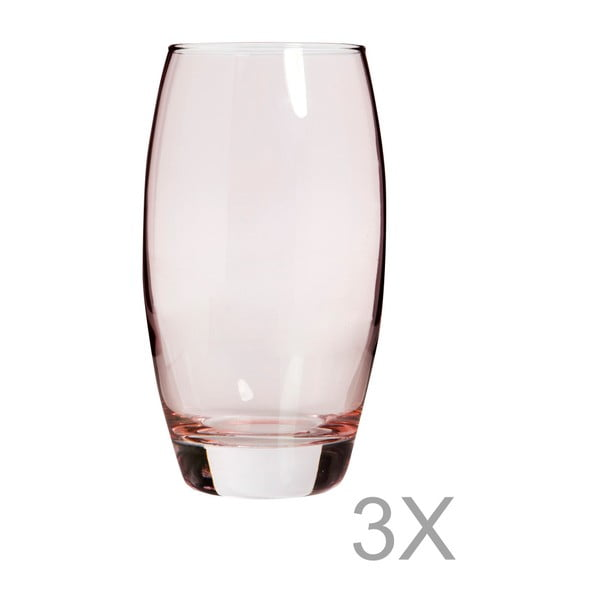 Sada 3 růžových sklenic Mezzo Luxury, 270 ml