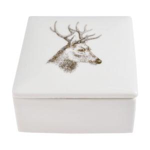 Bílá keramická krabička na šperky Ewax Deer, 7x7cm