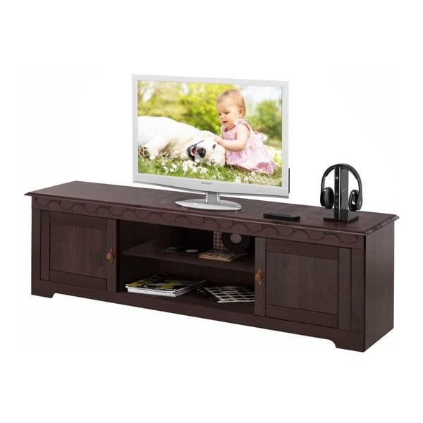 Tmavě hnědý TV stolek z borovicového dřeva  Støraa Lando Low