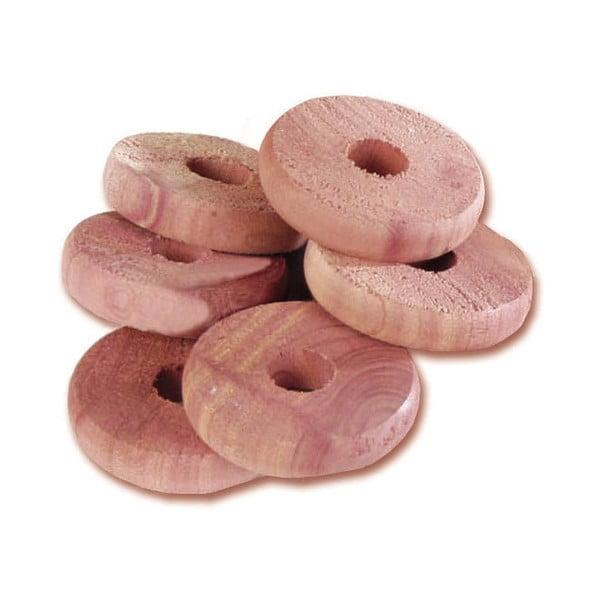 Sada 6 prstenů z cedrového dřeva do šatní skříně Compactor