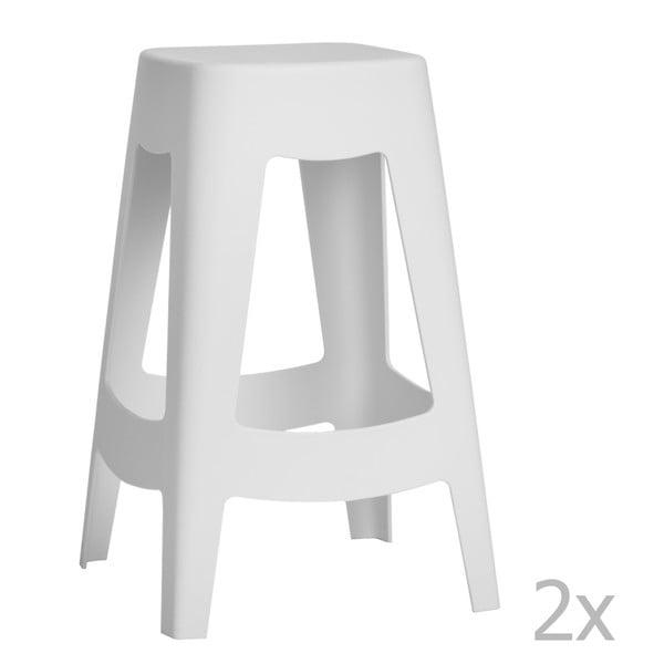 Sada 2 bílých barových židlí D2 Tower