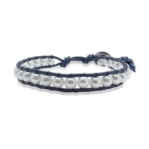 Modrý náramek z pravé kůže s perlami Lucie & Jade