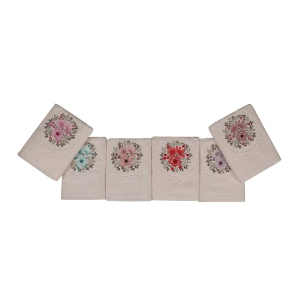 Sada šesti ručníků s květinovou výšivkou Fleures, 90x50cm