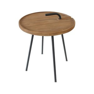 Odkládací stolek s deskou z teakového dřeva Miloo Home Lindo, ⌀42cm