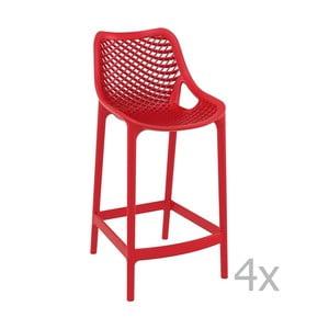 Sada 4 červených barových židlí Resol Grid, výška 65 cm