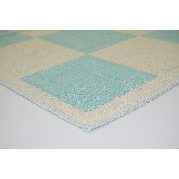 Modrý odolný koberec Vitaus Patchwork, 80x200cm
