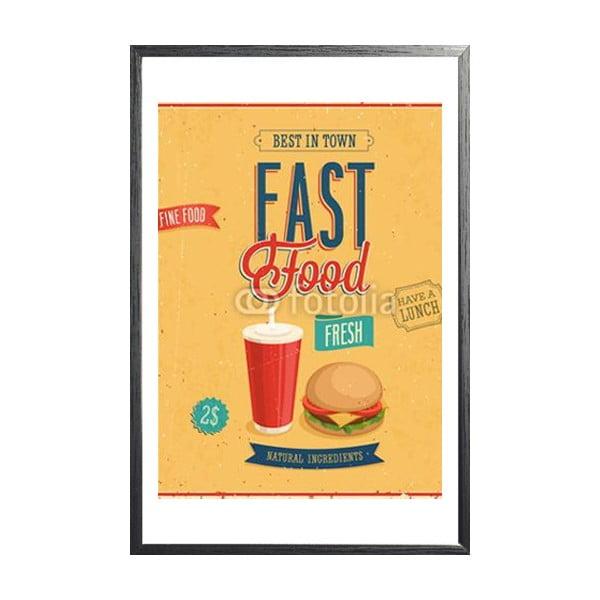 Zarámovaný plakát Vintage Fast Food, černý rám