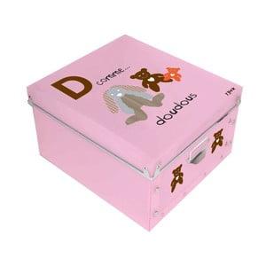 Růžový úložný box Incidence ABC, 32x32cm