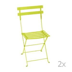 Sada 2 světle zelených skládacích zahradních židlí Fermob Bistro
