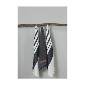 Sada 3 černo-bílých kuchyňských utěrek My Home Plus Breakfast, 50 x 70 cm