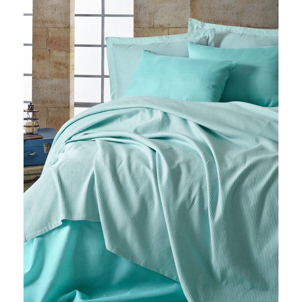 Set přehozu, prostěradla a povlaku na polštář EnLora Home Deportes Mint, 160 x 235 cm
