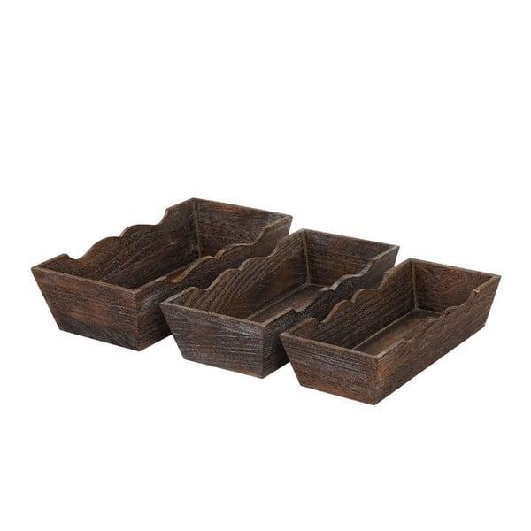 Sada 3 hnědých dřevěných misek Mendler Shabby