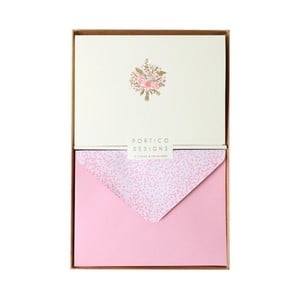 Sada 10 komplimentek s obálkami Portico Designs FOIL Spring Bouquet