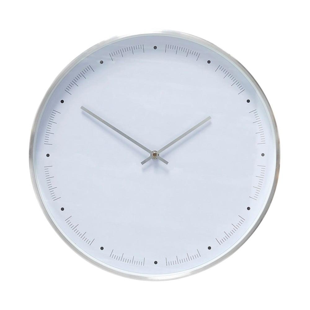 Bílé nástěnné hodiny s rámečkem ve stříbrné barvě Hübsch Ib