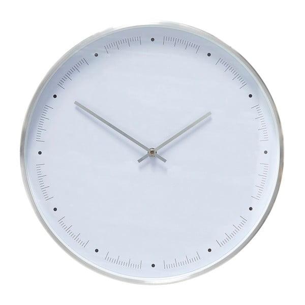 Biały zegar wiszący z ramką w kolorze srebra Hübsch Ibtre, ø40cm