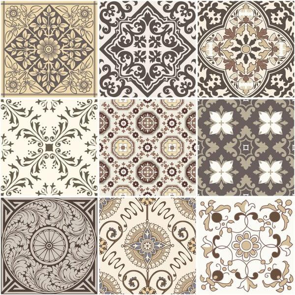 Sada 9 nástěnných samolepek Ambiance Cement Tiles Ancona, 10 x 10 cm